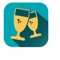 Ícone quadrado de taças de vinho