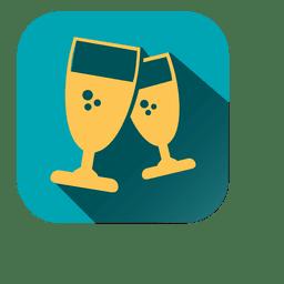 Icono cuadrado de copas de vino