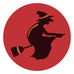 Witch broom circle icon