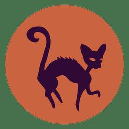 Icono de bruja gato círculo