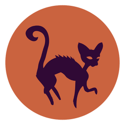 Witch cat circle icon