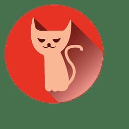 Icono redondo del gato bruja