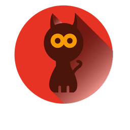 Witch cat round icon 1