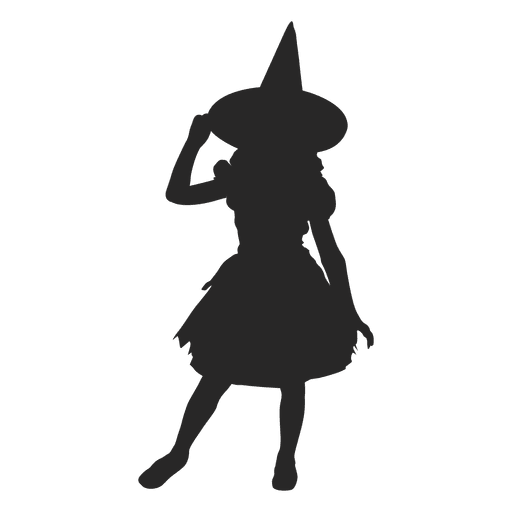 Witch girl costume silhouette 1 Transparent PNG