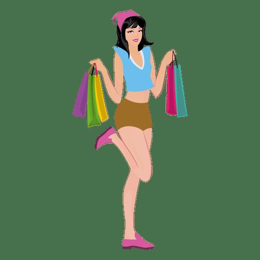 Young shopping girl cartoon Transparent PNG