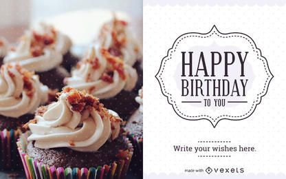 Fabricante de cartão de aniversário com etiqueta