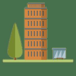 Laranja edifício cidade plana