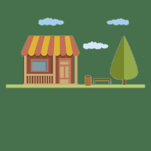 Casa pequena da cidade do edifício liso Transparent PNG
