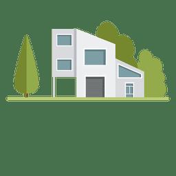 Casa da cidade de edifício futurista plana
