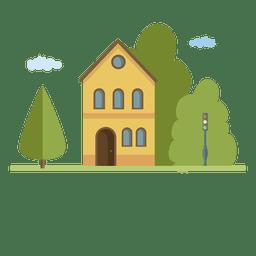 Construindo uma casa na cidade uma paisagem plana em casa.