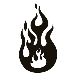 Cartoon flame illustration black white