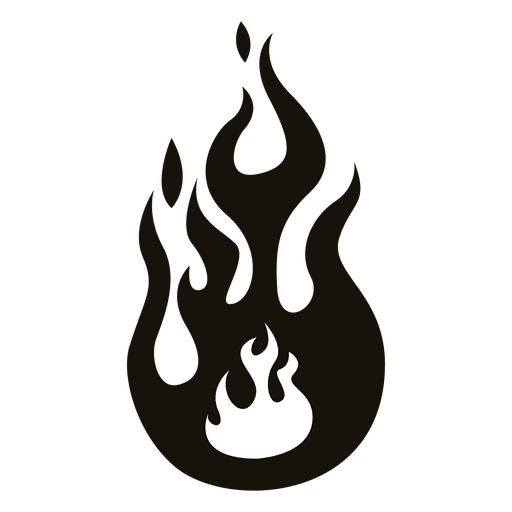 Cartoon flame illustration black white Transparent PNG