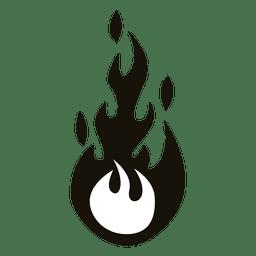 Ilustração de chama dos desenhos animados preto e branco