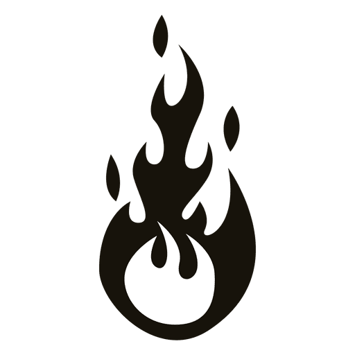 Cartoon flame illustration black and white Transparent PNG