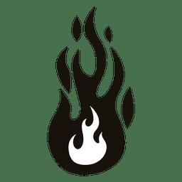 Fuego dibujos animados llama ilustración negro blanco