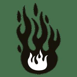 Fuego dibujos animados illustrationblack blanco