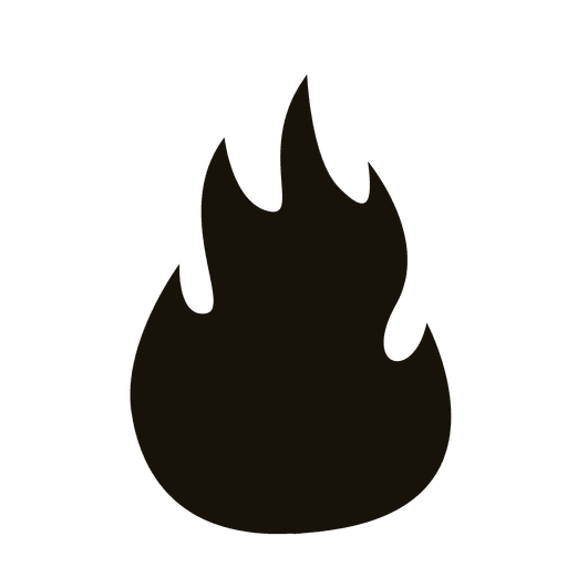Flame fire black silhouette design Transparent PNG