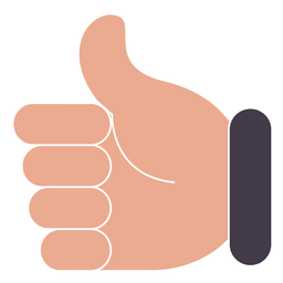 Hand ok thumbs up with white stroke