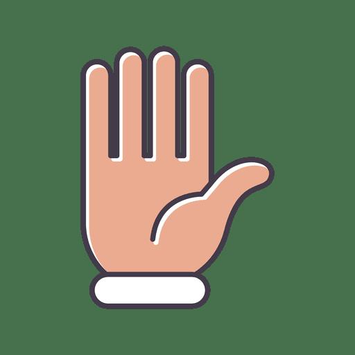 Hand hello gesture fingers icon