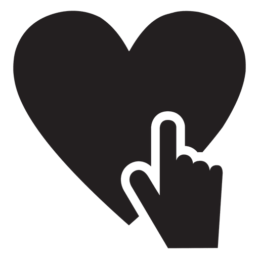 Icono de coraz?n con mano tocando