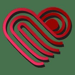 Plantilla de logotipo de corazón doblada