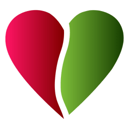Heart logo half red and green color