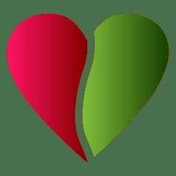 Herzlogo halbe rote und grüne Farbe