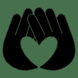 Mãos de logotipo do coração