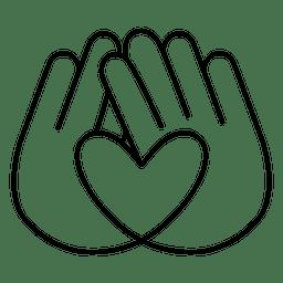 Logotipo do coração traço das mãos