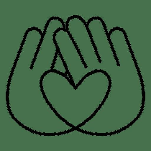 Heart logo hands stroke