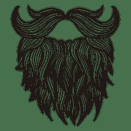 Barba bigote ilustrado hipster