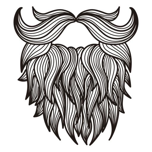 Illustrated hipster moustache beard Transparent PNG