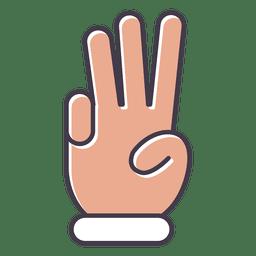 Mão, mostrando, três dedos
