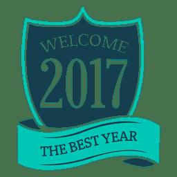 Blauer Abzeichenaufkleber für das neue Jahr 2017