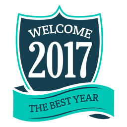 Blue 2017 new year badge label