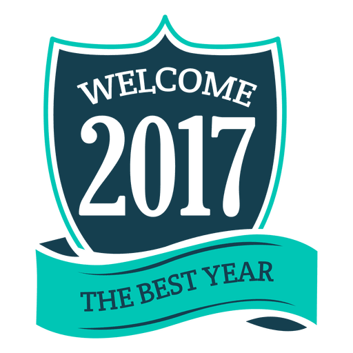 Blue 2017 new year badge label Transparent PNG