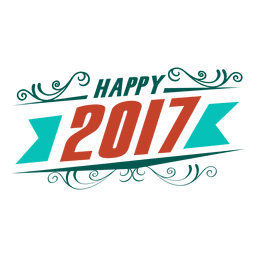 Happy 2017 new year badge label