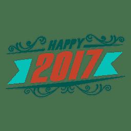 Rótulo de crachá feliz ano novo de 2017