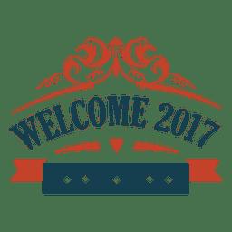 Bem-vindo 2017 ano novo emblema etiqueta