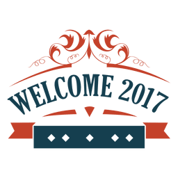Welcome 2017 new year badge label