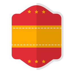 Flat red badge label