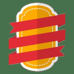 Etiqueta de emblema plano com fita vermelha