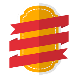 Flat badge label with red ribbon