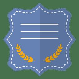 Flat blue badge label ribbon