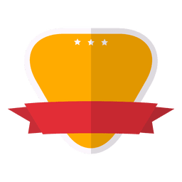 Flat and colorful emblem ribbon label