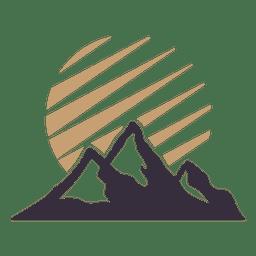 Insignia de la etiqueta de la montaña con el sol