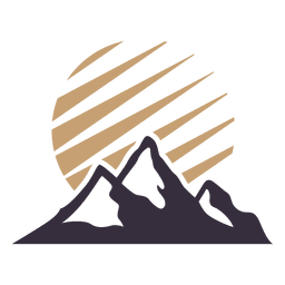 Mountain label badge with sun