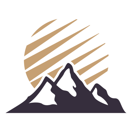 Mountain label badge with sun  Transparent PNG