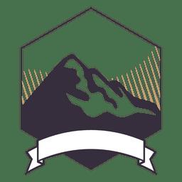 Emblema da etiqueta da montanha com fita