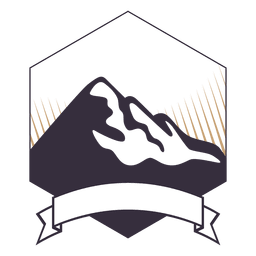 Mountain label badge with ribbon